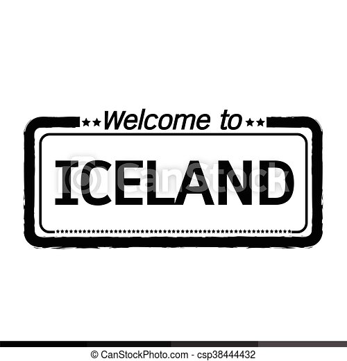Welcome to ICELAND illustration design - csp38444432