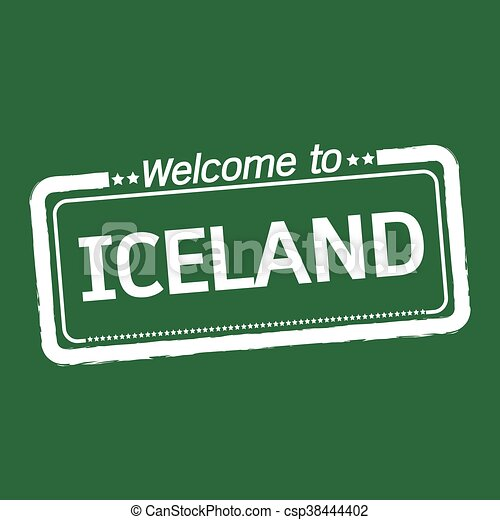 Welcome to ICELAND illustration design - csp38444402