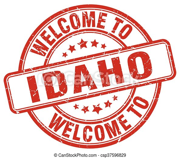 welcome to Idaho red round vintage stamp - csp37596829