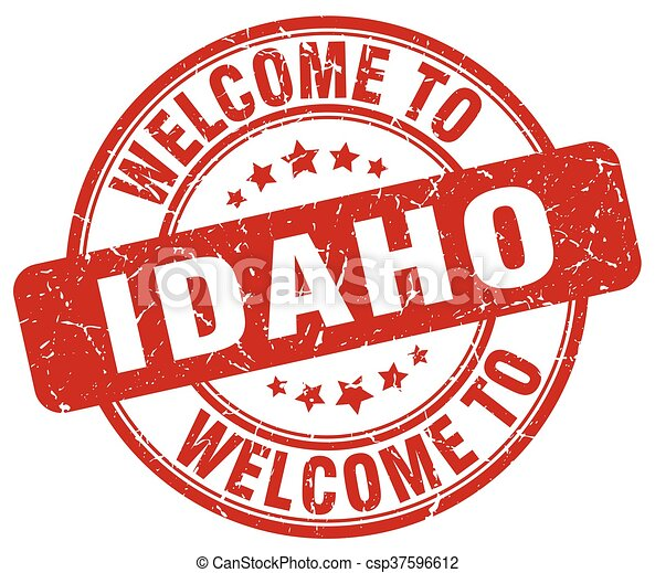 welcome to Idaho red round vintage stamp - csp37596612