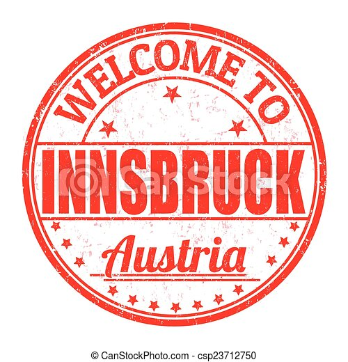 Welcome to Innsbruck, Austria stamp - csp23712750