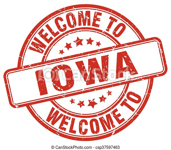 welcome to Iowa red round vintage stamp - csp37597463