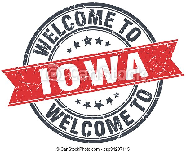 welcome to Iowa red round vintage stamp - csp34207115