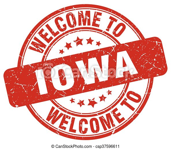 welcome to Iowa red round vintage stamp - csp37596611