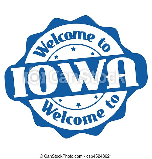 Welcome to Iowa sign or stamp - csp45248621
