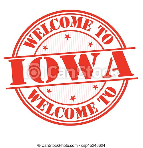 Welcome to Iowa sign or stamp - csp45248624