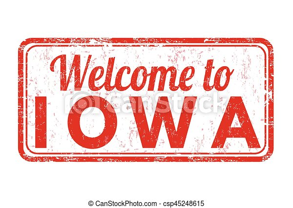 Welcome to Iowa sign or stamp - csp45248615