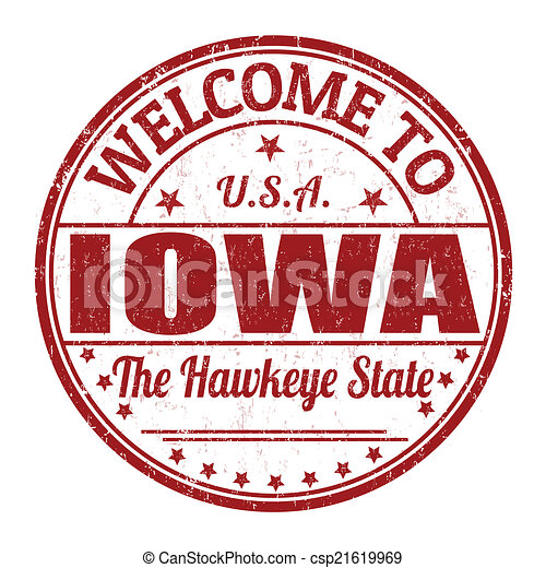 Welcome to Iowa stamp - csp21619969