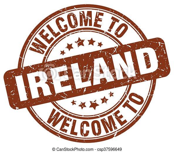welcome to Ireland brown round vintage stamp - csp37596649