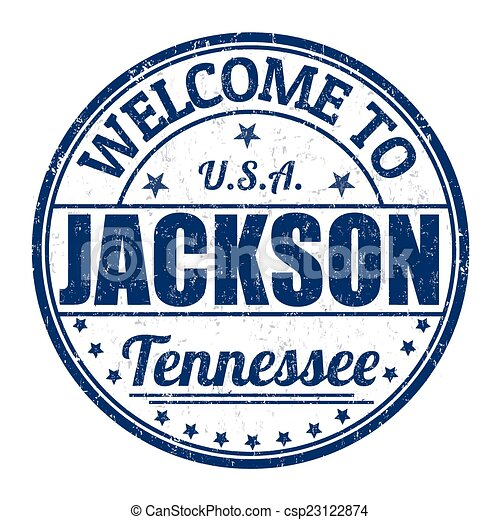 Welcome to Jackson stamp - csp23122874