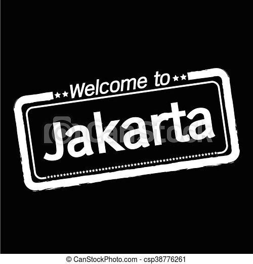 Welcome to Jakarta city illustration design - csp38776261