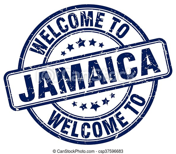 welcome to Jamaica blue round vintage stamp - csp37596683