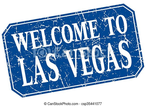 welcome to las vegas blue square grunge stamp csp35441077