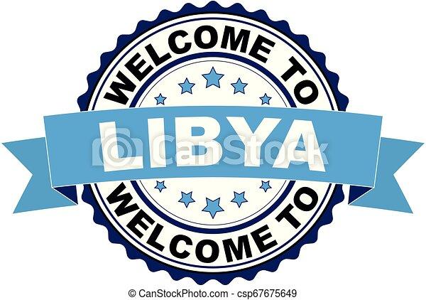 Welcome to Libya blue black rubber stamp illustration vector - csp67675649