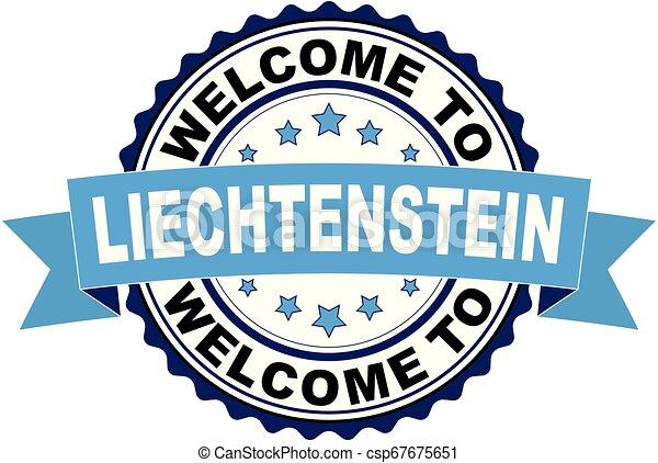Welcome to Lichtenstein blue black rubber stamp illustration vector - csp67675651