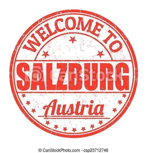 Welcome to Linz, Austria stamp - csp23712746