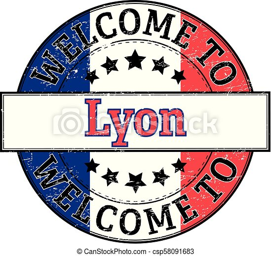 welcome to Lyon round stamp - csp58091683