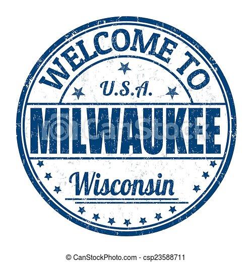 Welcome to Milwaukee stamp - csp23588711