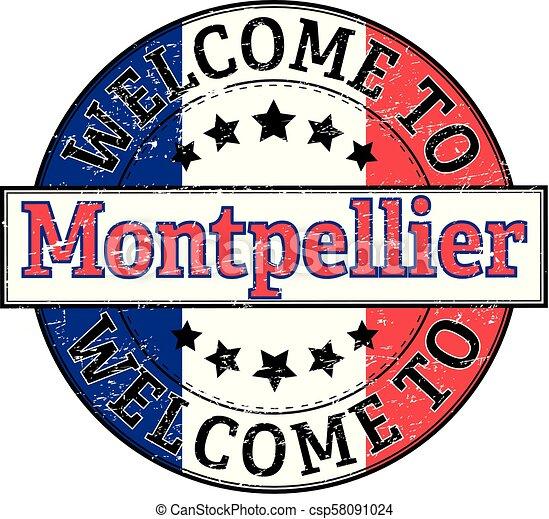 welcome to Montpellier round stamp - csp58091024