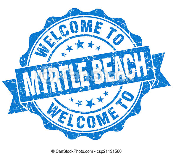 Welcome To Myrtle Beach Blue Vintage Isolated Seal Stock Illustration