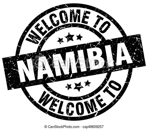 welcome to Namibia black stamp - csp48609257