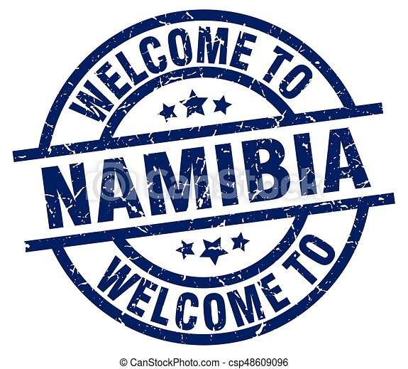 welcome to Namibia blue stamp - csp48609096