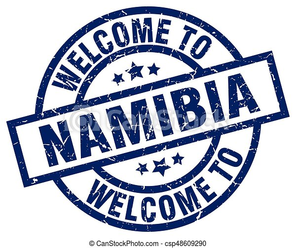 welcome to Namibia blue stamp - csp48609290