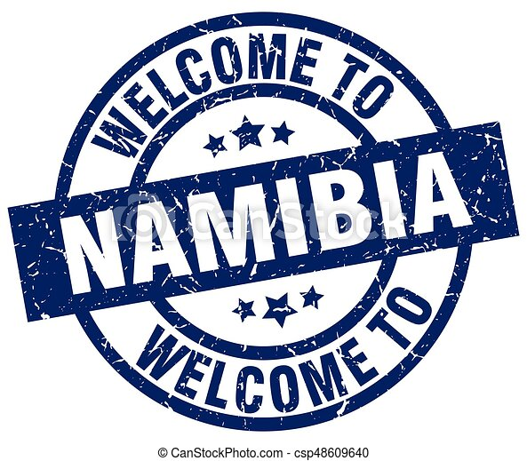 welcome to Namibia blue stamp - csp48609640