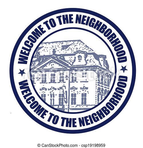Welcome to neighborhood stamp - csp19198959