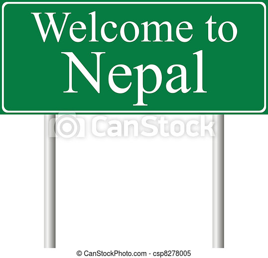 Welcome to Nepal, concept road sign - csp8278005