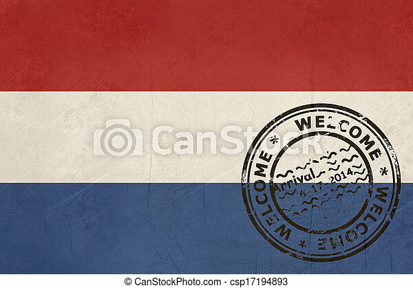 Welcome to Netherlands flag with passport stamp - csp17194893