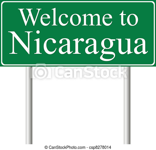 Welcome to Nicaragua, concept road sign - csp8278014
