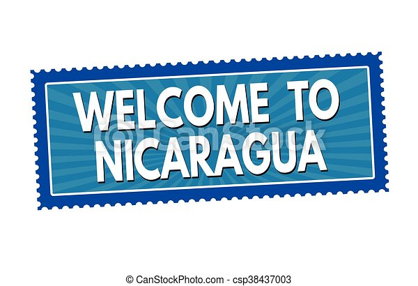 Welcome to Nicaragua sticker or stamp - csp38437003