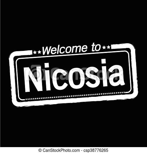 Welcome to Nicosia city illustration design - csp38776265
