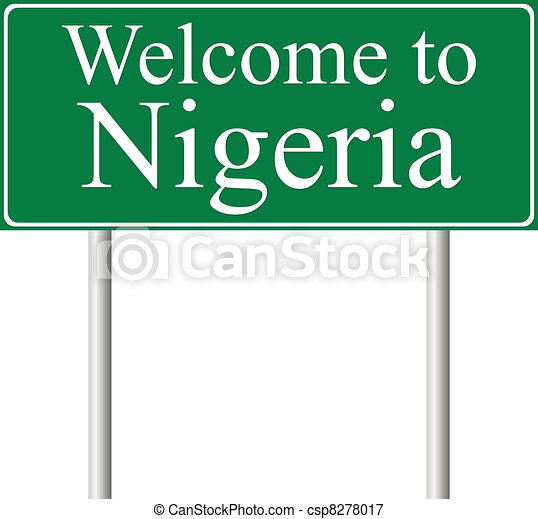 Welcome to Nigeria, concept road sign - csp8278017