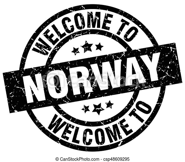 welcome to Norway black stamp - csp48609295
