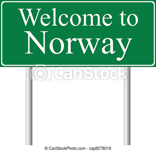 Welcome to Norway, concept road sign - csp8278016