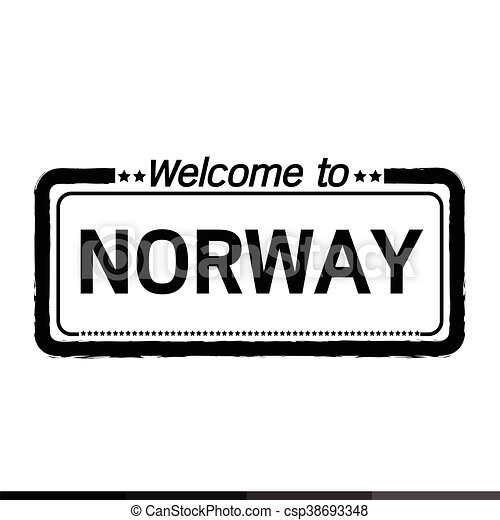 Welcome to NORWAY illustration design - csp38693348