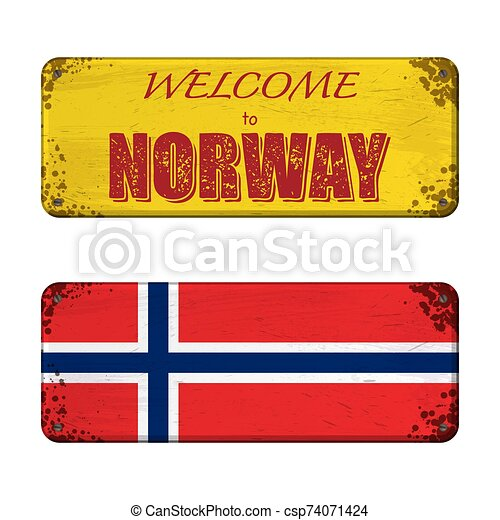 Welcome to Norway nameplate - csp74071424