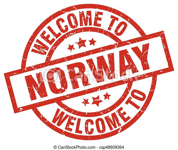welcome to Norway red stamp - csp48609364