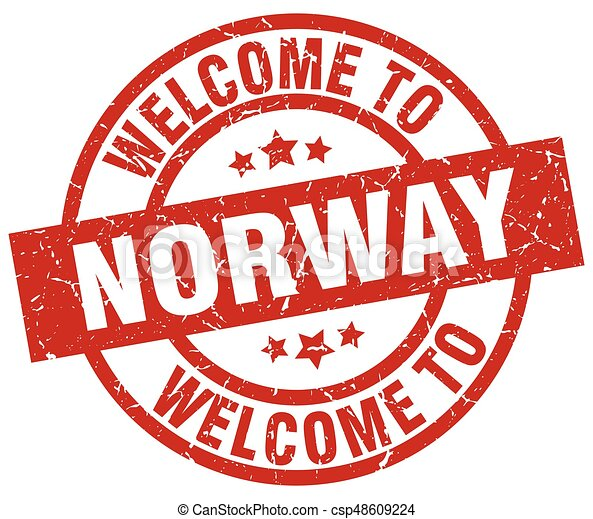 welcome to Norway red stamp - csp48609224
