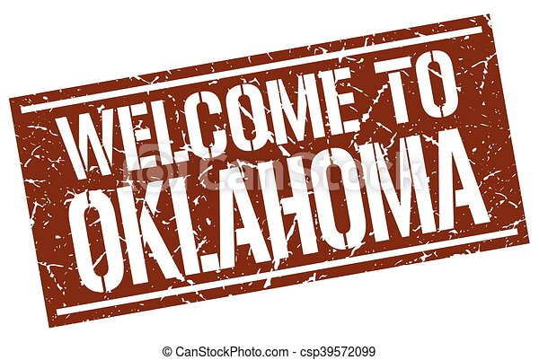 welcome to Oklahoma stamp - csp39572099