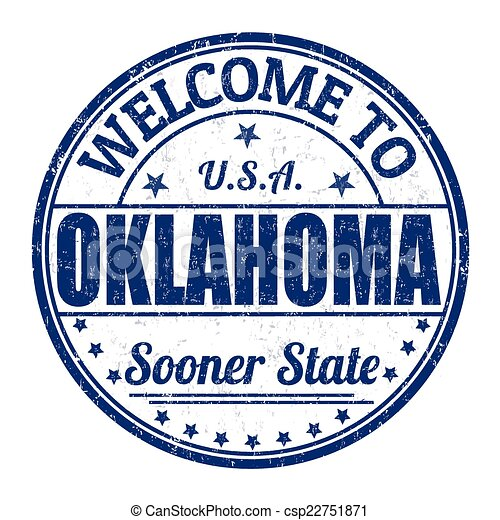 Welcome to Oklahoma stamp - csp22751871