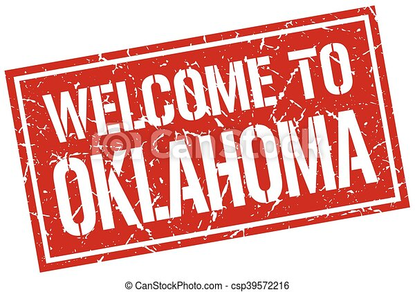 welcome to Oklahoma stamp - csp39572216
