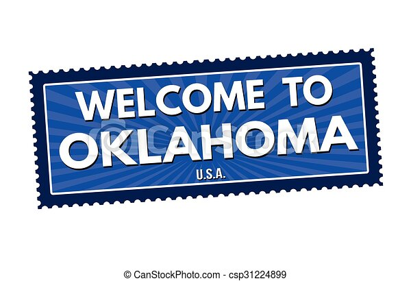 Welcome to Oklahoma travel sticker or stamp - csp31224899