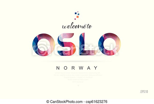 Welcome to oslo norway card and letter design typography icon - csp61623276