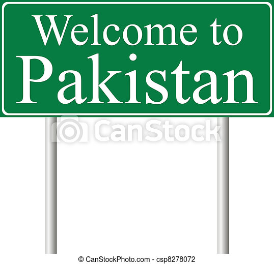 Welcome to Pakistan, concept road sign - csp8278072