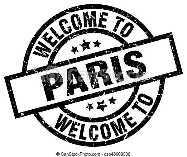 welcome to Paris black stamp - csp48609306