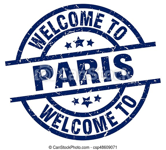 welcome to Paris blue stamp - csp48609071