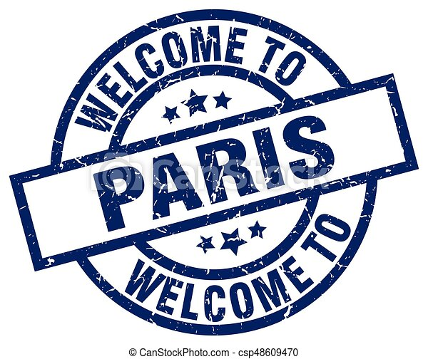 welcome to Paris blue stamp - csp48609470